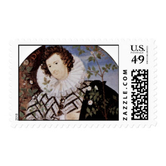 Portrait Of A Young Man Under Roses Oval Detail Postage Stamps