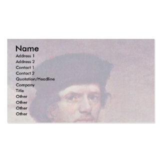 Portrait Of A Young Man With Fur Cap And Cuirass Double-Sided Standard Business Cards (Pack Of 100)