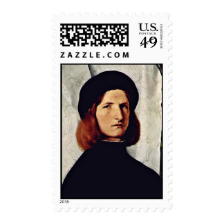 Portrait Of A Young Man With Lamp By Lotto Lorenzo Postage Stamp