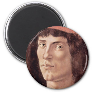 Portrait Of A Young Man With Red Cap By Botticelli Refrigerator Magnet
