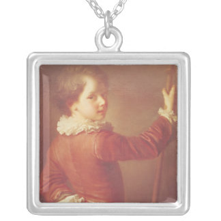 Portrait of a Young Pilgrim, 1725 Silver Plated Necklace