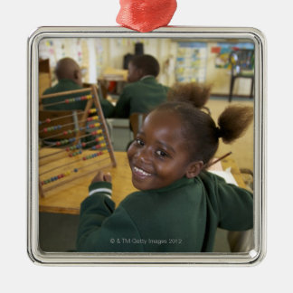Portrait of a young schoolgirl smiling, KwaZulu Metal Ornament