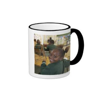 Portrait of a young schoolgirl smiling, KwaZulu Ringer Coffee Mug