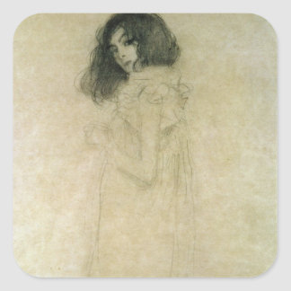 Portrait of a young woman, 1896-97 square sticker
