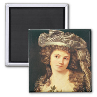 Portrait of a young woman 2 inch square magnet