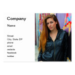 Portrait of a young woman business card template