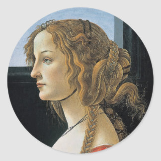 Portrait of a Young Woman by Botticelli Classic Round Sticker