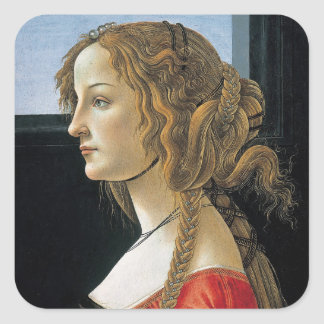 Portrait of a Young Woman by Botticelli Square Sticker
