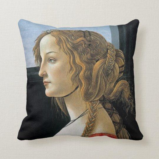 Portrait of a Young Woman by Botticelli Throw Pillow