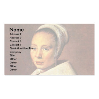 Portrait Of A Young Woman By Hals Frans Business Card Templates