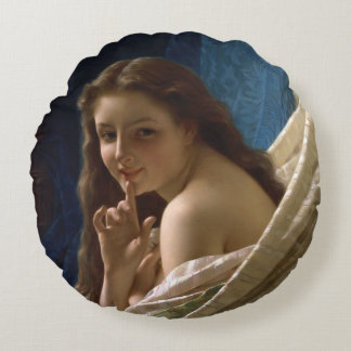 Portrait of a Young Woman by Pierre Auguste Cot Round Pillow