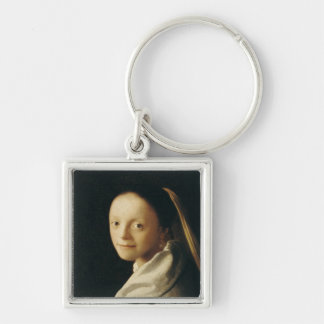 Portrait of a Young Woman, c.1663-65 Silver-Colored Square Keychain