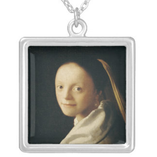 Portrait of a Young Woman, c.1663-65 Square Pendant Necklace
