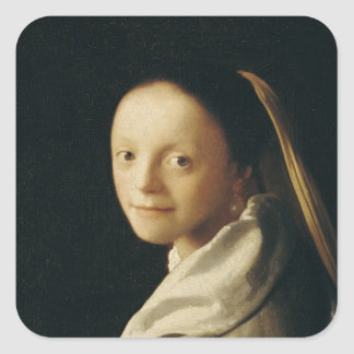 Portrait of a Young Woman, c.1663-65 Square Sticker