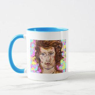 portrait of a young woman colors mug