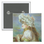 Portrait of a young woman in a lace hat, 1891 pinback button