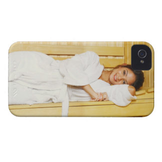 Portrait of a young woman lying in a sauna iPhone 4 Case-Mate cases