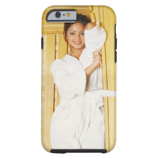 Portrait of a young woman lying in a sauna tough iPhone 6 case