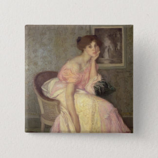Portrait of a young woman pinback button