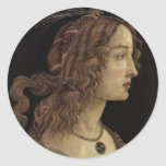 Portrait of a Young Woman Round Sticker