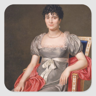 Portrait of a Young Woman Seated Three-Quarter Len Square Sticker