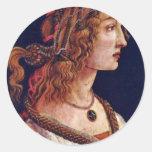 Portrait Of A Young Woman (Simonetta Vespuci?) Round Sticker