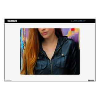 Portrait of a young woman laptop decals