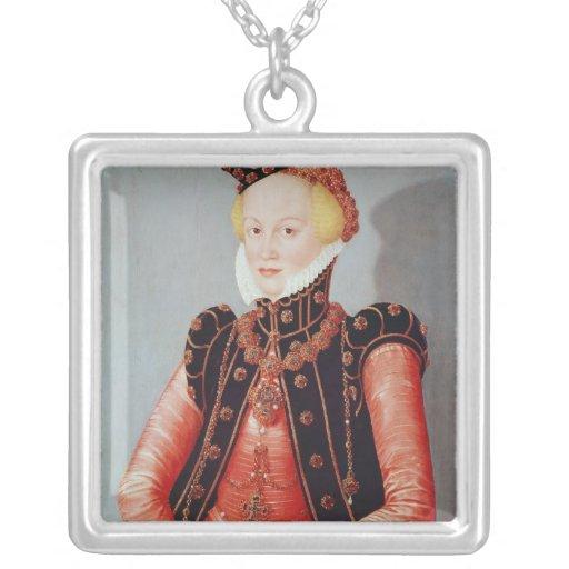 Portrait of a Young Woman Square Pendant Necklace