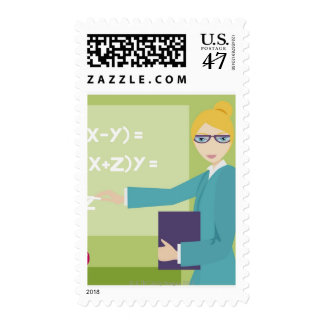 Portrait of a young woman teaching postage
