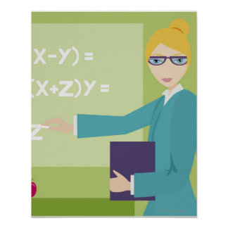 Portrait of a young woman teaching poster