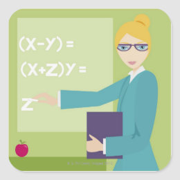 Portrait of a young woman teaching square sticker