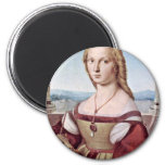 Portrait Of A Young Woman With A Unicorn 2 Inch Round Magnet