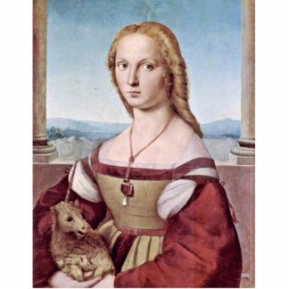 Portrait Of A Young Woman With A Unicorn Statuette