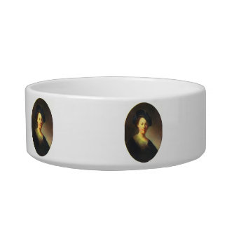 Portrait of a young woman with Beret by Rembrandt Cat Food Bowl