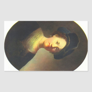 Portrait of a young woman with Beret by Rembrandt Rectangular Sticker