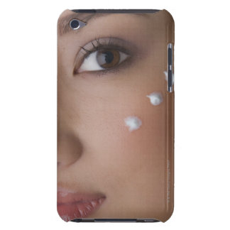 Portrait of a young woman with cream on her iPod Case-Mate case