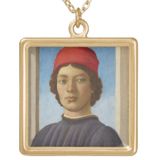 Portrait of a Youth, c.1485 (oil & tempera) Gold Plated Necklace