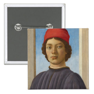 Portrait of a Youth, c.1485 (oil & tempera) Pinback Button
