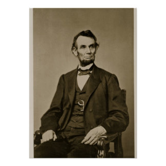 Portrait of Abraham Lincoln (1809-65) (b/w photo) Print