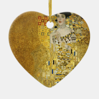 Portrait of Adele Bloch-Bauer I - Gustav Klimt Double-Sided Heart Ceramic Christmas Ornament