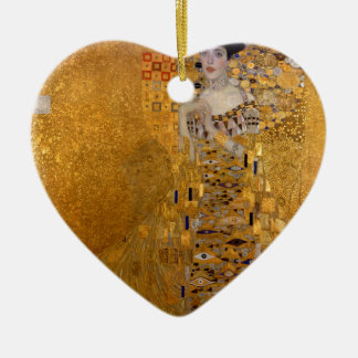 Portrait of Adele Bloch Bauer Double-Sided Heart Ceramic Christmas Ornament