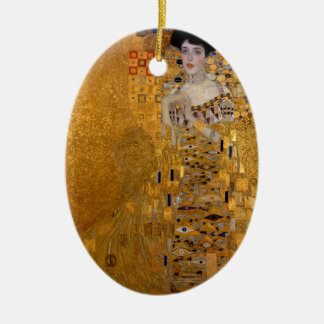 Portrait of Adele Bloch Bauer Double-Sided Oval Ceramic Christmas Ornament
