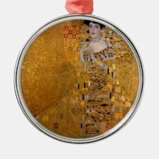 Portrait of Adele Bloch Bauer Round Metal Christmas Ornament