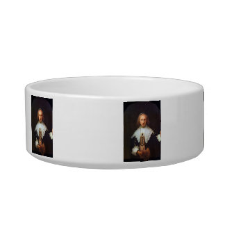 Portrait of Agatha Bas by Rembrandt Cat Food Bowls
