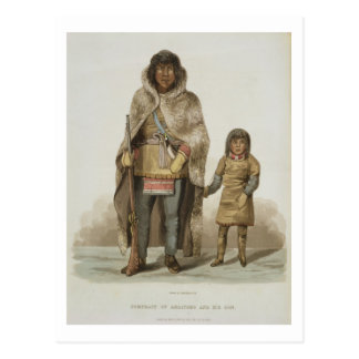 Portrait of Akaitcho and his Son, from 'Narrative Postcard