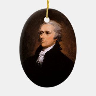 Portrait of Alexander Hamilton by John Trumbull Double-Sided Oval Ceramic Christmas Ornament