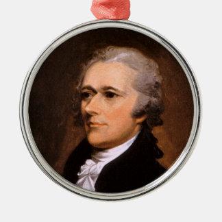 Portrait of Alexander Hamilton by John Trumbull Round Metal Christmas Ornament