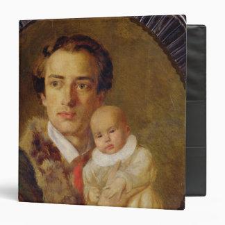 Portrait of Alexander Herzen with his son, 1840 3 Ring Binder