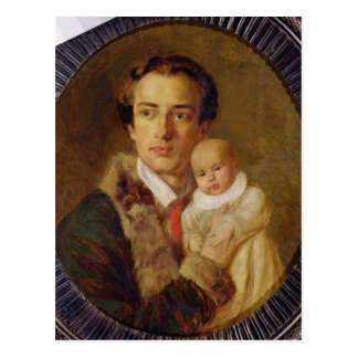 Portrait of Alexander Herzen with his son, 1840 Postcard