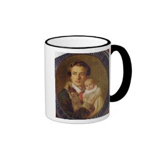 Portrait of Alexander Herzen with his son, 1840 Ringer Mug